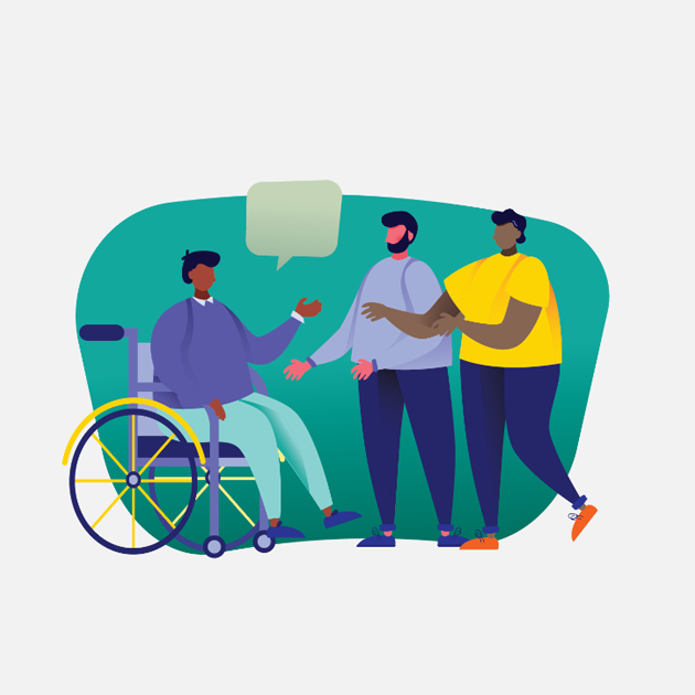 Infographic of person in wheelchair talking to others