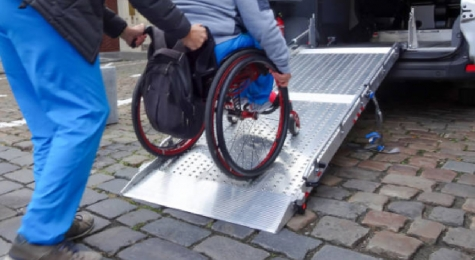 wheel chair going up ramp