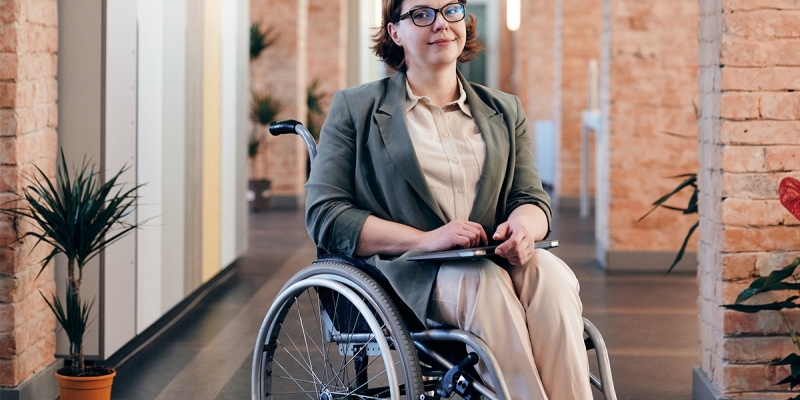 A lady in a wheel chair